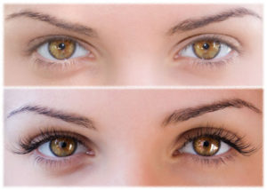 oczy z przedłużonymi rzęsami i bez